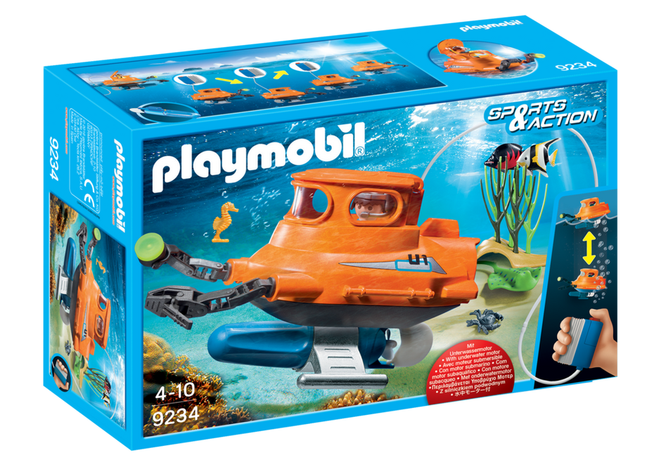 for Kids 4 to 10 Playmobil Sports /& Action Submarine w// Underwater Motor 9234