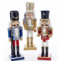 10-Inch Wooden Gold, Blue and Red Soldier Nutcrackers