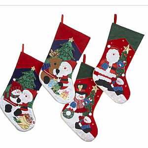 "19"" Embroid Santa/snowman Stocking"