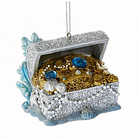 Under Sea Treasure Chest With Gems Ornament 2.5