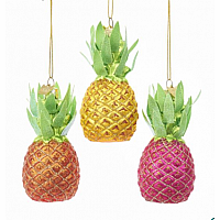 Pineapple Glass Ornaments, 3 Assorted
