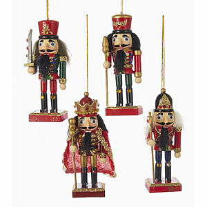 "6"" Wooden King and Soldier Nutcracker Ornaments 4pk"