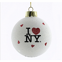 80mm I Love NY Glass Ball Ornament