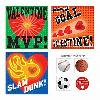 Sports Balls Puffy Sticker Valentines